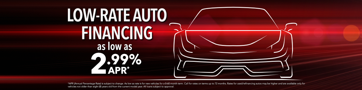 Low rate auto financing as low as 2.99% APR